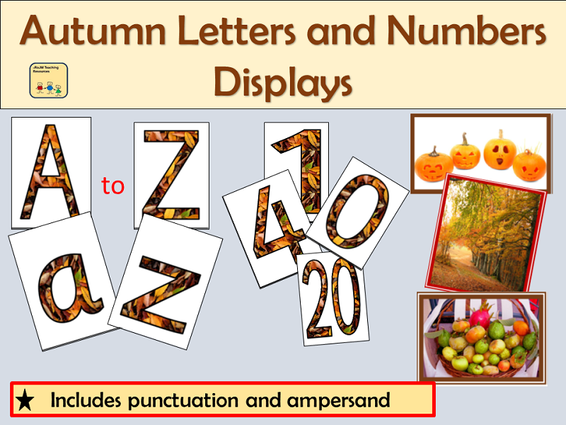 Alphabet and Numbers Display: Autumn Season inc Punctuation symbols and Autumn Photos