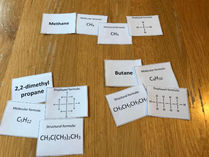 Chemistry Alkanes Card Sort