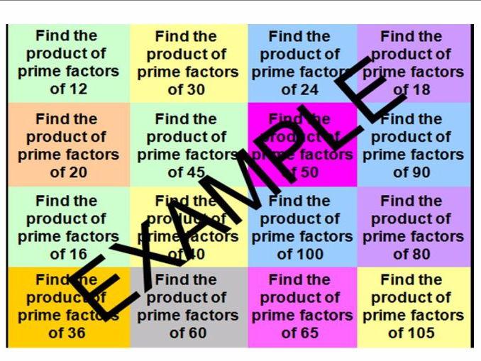 Product of Prime Factors - TWO CATCHPHRASE ACTIVITIES