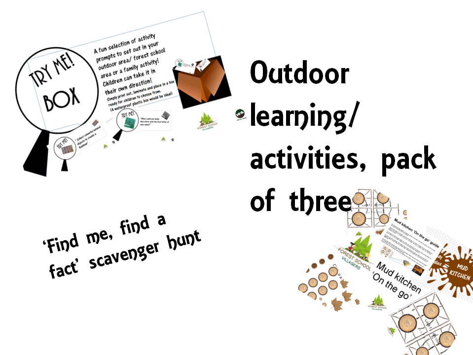Outdoor learning/ activities, pack of three. EYFP/ Early years Foundation stage