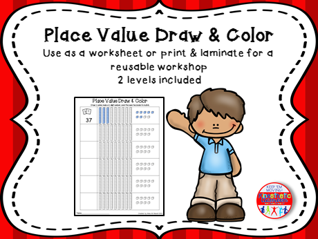 Place Value Activity - Draw & Color Base Ten Blocks
