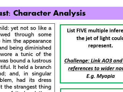 The Ghost of Christmas Past: High ability worksheet