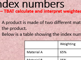 Weighted index numbers - GCSE statistics