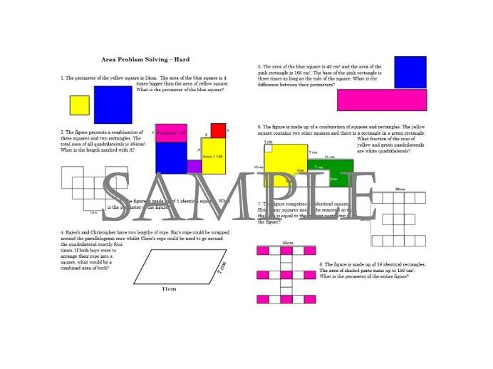 Variation on Area and Perimeter Problem Solving