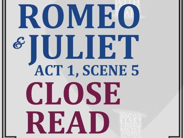 Romeo & Juliet Close Reading Worksheet (Act 1, Scene 5)