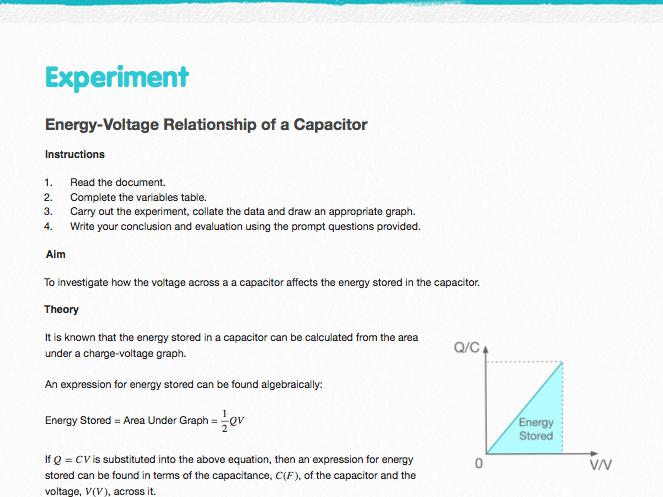 Investigating Energy in Capacitors - Practical Worksheet and Sample Data