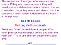 Determiners and pronouns.