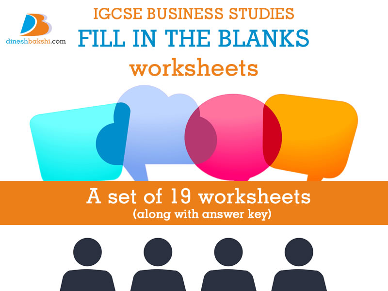 Business Studies - Fill in the Blanks Worksheets