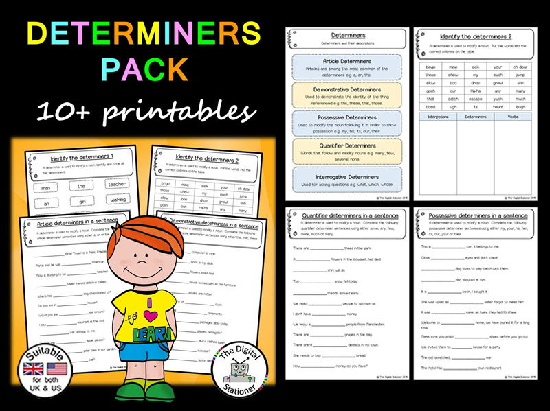 Determiner Pack (Parts of Speech) – 10+ printables