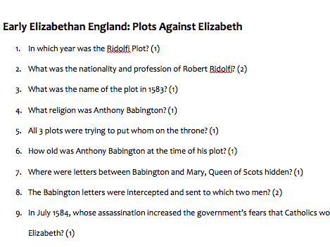 GCSE HISTORY: Elizabeth I: Plots Against Elizabeth Quiz (Ridolfi Plot, Throckmorton Plot, Babington)