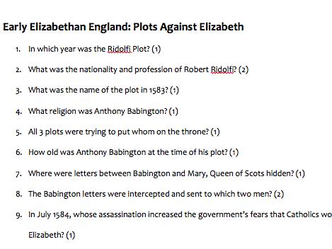 GCSE HISTORY: Elizabeth I: Plots Against Elizabeth Quiz (Ridolfi Plot, Throckmorton Plot, Babington)