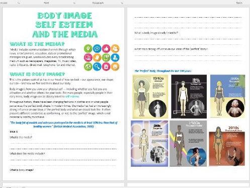 PSHE Body Image, Self-Esteem and the Media Task Book