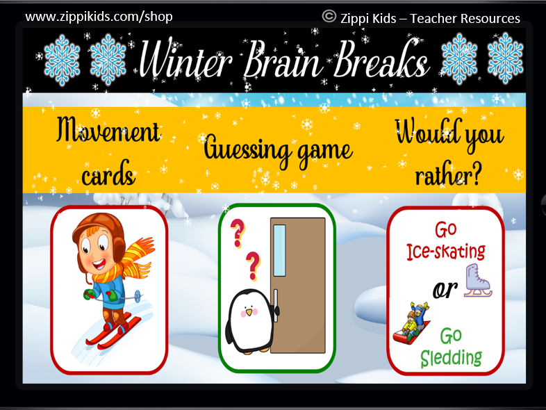 Winter Brain Breaks | Winter games – 45 Google Slides