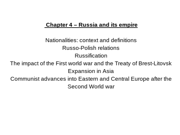OCR A Level History - Russia and its rulers 1855-1964 FULL CHAPTER 4 NOTES A* QUALITY