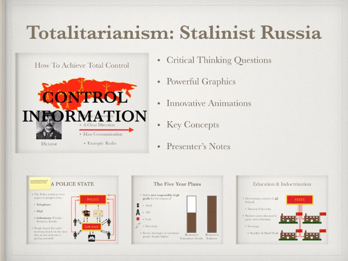 Totalitarianism Stalinist Russia Keynote and Power Point Presentations