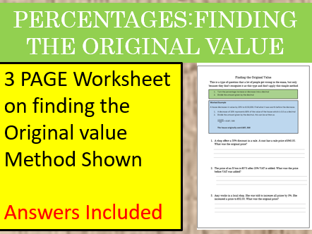 Percentages: Finding the Original Value Worksheet