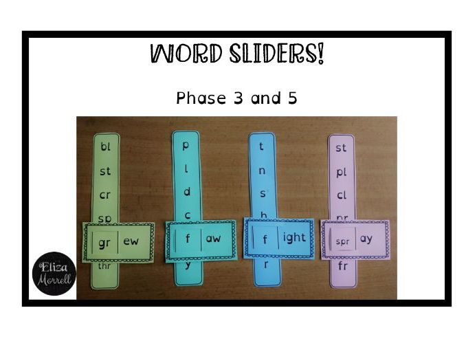 Phonics - Phase 3 & 5 - Word Sliders