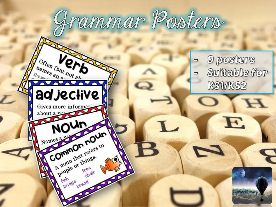 x9 Grammar Display Posters