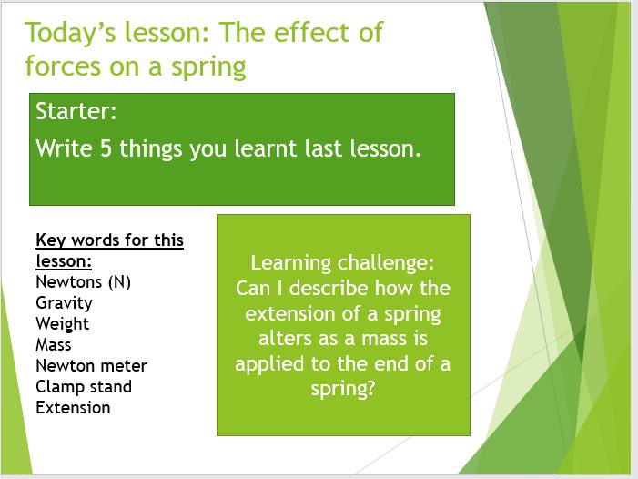 Year 7 (KS3) Physics lesson: Springs