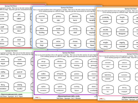 KS2 Synonyms Loop Game Trail Chaser Set 2