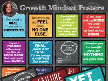 12 Growth Mindset Inspirational Sayings - Secondary Classroom Posters