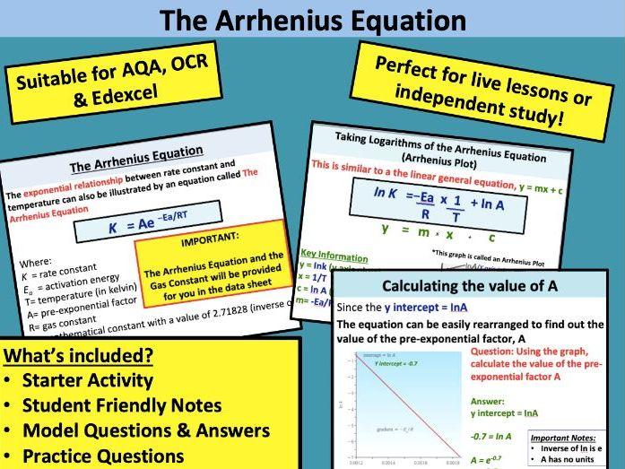 Kinetics: The Arrhenius Equation (A Level Chemistry)