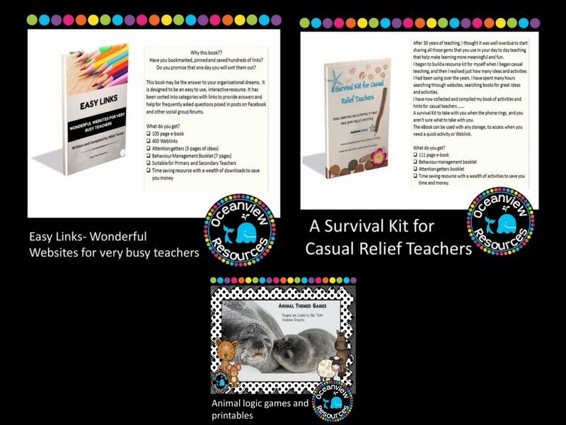 Survival Kit for Relief Teachers, Easy Links Wonderful Websites for very busy teachers, Animal Logic bundle