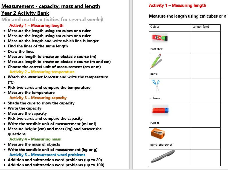 Capacity Mass Length Year 2 Activity Bank (Differentiated)