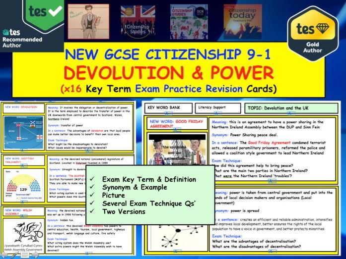 GCSE Citizenship Revision: Key term Exam Practice Cards: Devolution