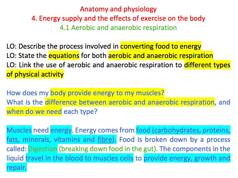 IGCSE Physical Education. Chapter 4: Energy supply and the effects of exercise on the body