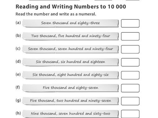 Reading and Writing Numbers to  10 000