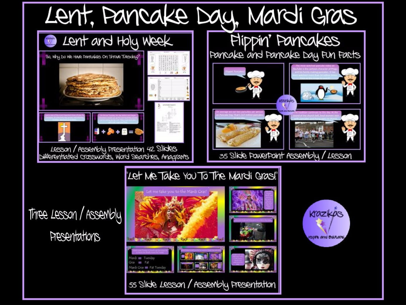 Lent, Pancake Day, Mardi Gras - Three Lesson / Assembly Presentations Bundle