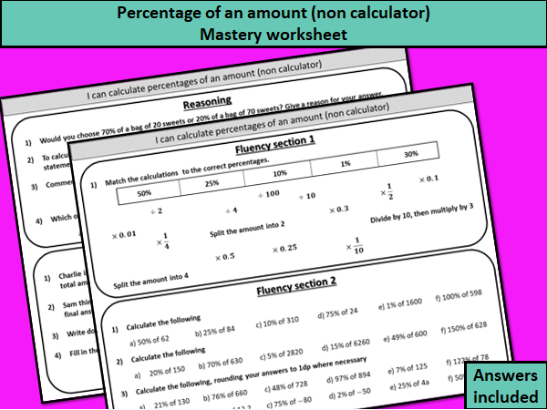 Percentage of an amount (non calculator) - mastery worksheet