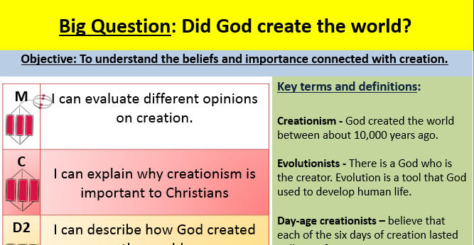 Creation - EDEXCEL GCSE (9-1) RE SPEC B - Religion and ethics: Christianity -  lesson