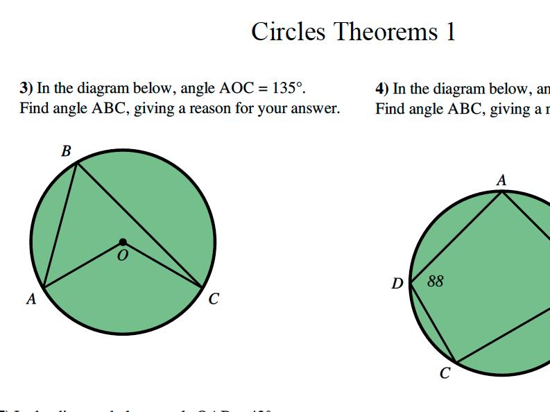 GCSE Maths Circle Theorems 1 Revision