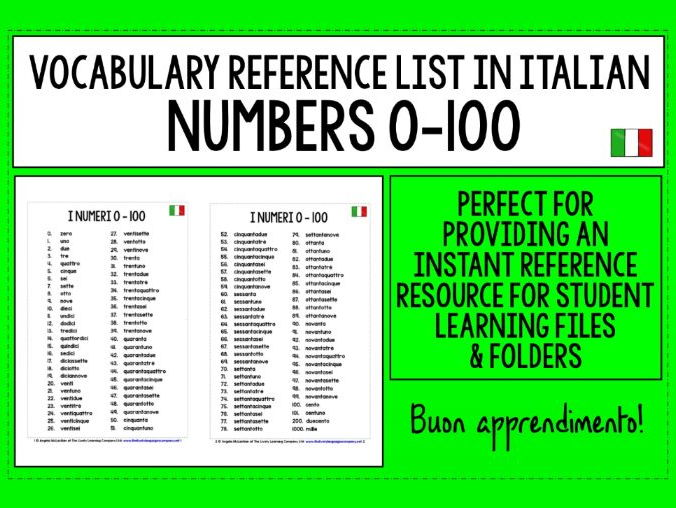 ITALIAN VOCABULARY REFERENCE LIST - NUMBERS 0-100