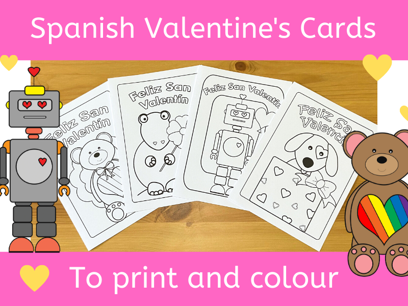 Spanish Valentine's Day cards to print and colour