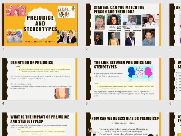 Prejudice and Stereotypes - Year 6 PSHE 2020 Curriculum
