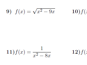 Domain of a function worksheet no 3 (with solutions)