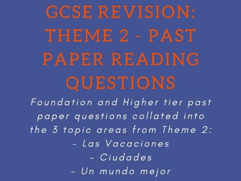 Past Paper Reading Questions - Theme 2: Local, National and Interanational areas of interest