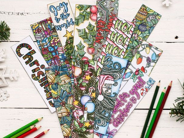 "Christmas Coloring Bookmarks | 12 Pack - Printable 8.5x11"" PDF bookmarks for Christmas"