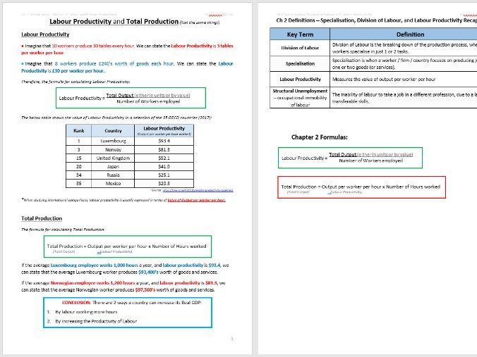 Division of Labour, Specialisation, Labour Productivity