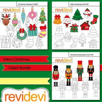 Nutcracker Christmas Tree Clipart.Christmas Clip Art Merry Christmas Clipart Bundle 3 Packs