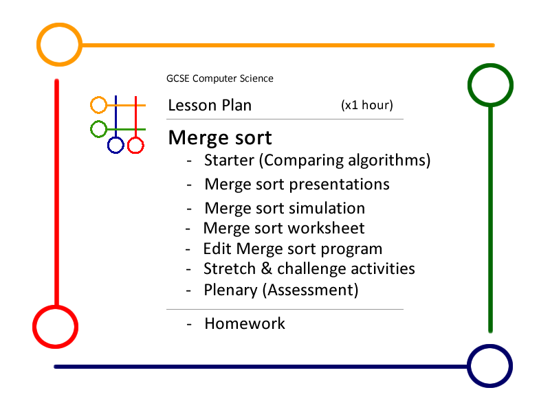 Lesson:   Merge sort, (lesson plan  & x 6 resources)
