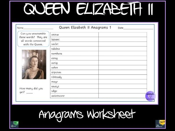 Queen Elizabeth Anagrams Worksheet