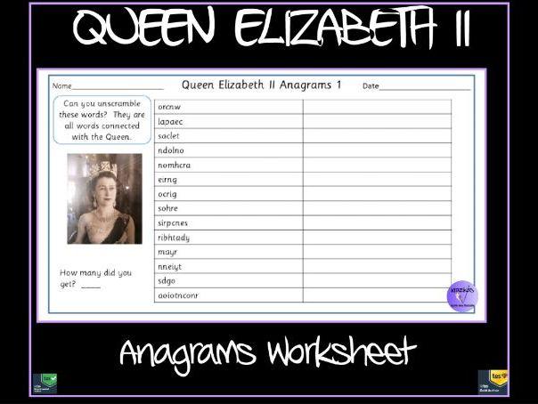 Queen Elizabeth Anagrams Worksheet