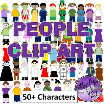 People Clip Art- Girls, Boys, Occupations, Zombies, Family, Community and more