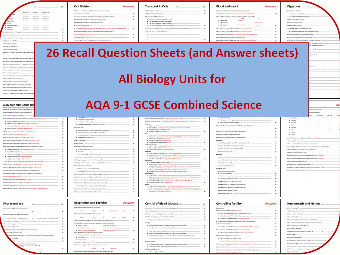 26 Biology Revision Question Sheets (AQA 9-1 GCSE Combined Science)