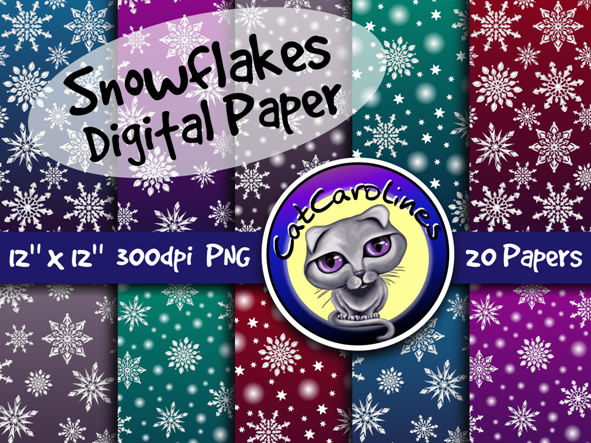 Snowflakes Digital Paper Backgrounds
