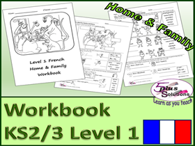 SIX SHEET PRIMARY KS2/3 LEVEL 1 FRENCH COPIABLE WORKBOOK: Family; names, ages, 1-20, adjectives